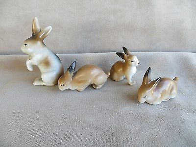 Lot of 4 Vintage Miniature Rabbits Brown Bunny Family