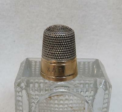 Antique Sterling Silver Thimble with Gold Banding size 9