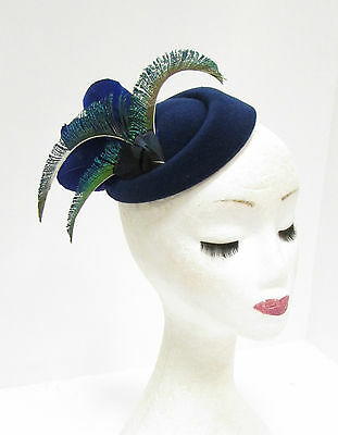 Green Navy Royal Blue Peacock Feather Pillbox Hat Hair Fascinator Races Vtg 2275