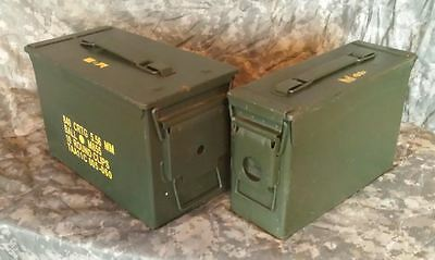 One 30 cal M19A1 Ammo Can & One 50 cal M2A1 Ammo Can Grade 1 Army Surplus