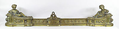 Antique French Louis XVI Style Gilt Bronze Fire Fender Chenets