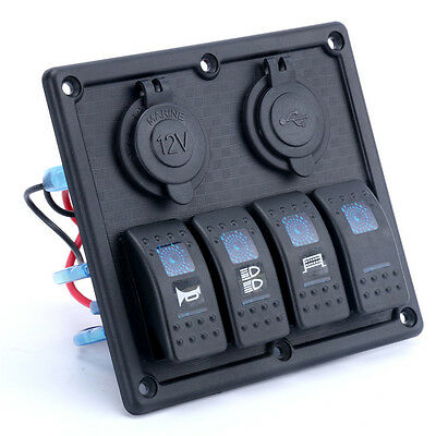 4 Gang Rocker Switch Panel LED light indicator+Double USB Power Charger Adapter