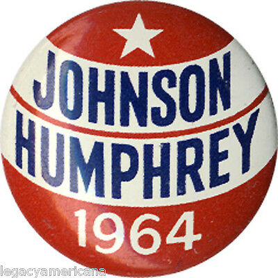 Cool 1964 Lyndon JOHNSON Hubert HUMPHREY Campaign Button (4899)