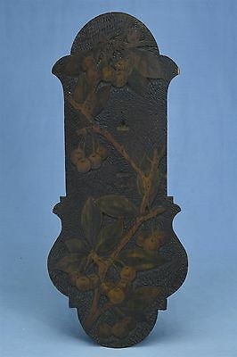 Antique FLEMISH ART PYROGRAPHY RECTANGULAR PLAQUE CHERRIES LEAVES BRANCHES 03460