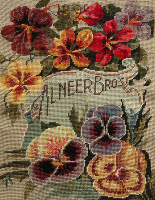 Vtg. Completed Needlepoint Canvas Blooming Pansy Flowers