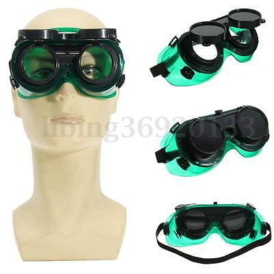 Welding Cutting Welders Safety Goggles Glasses Flip Up Dark Green Lenses HOT