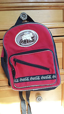 Coca Cola Childs Backpack Polar Bear Vintage 1990's Coke Black & red Kids pack