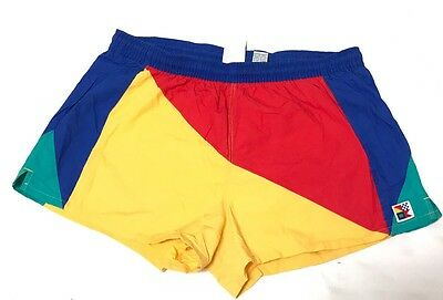 VINTAGE Newport Blue MENS SWIM TRUNKS BATHING SUIT SHORT SHORTS Colorblock XL