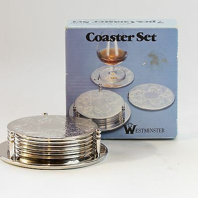 Vintage Westminster Silver plate coaster set with box