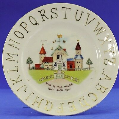 Antique Porcelain Child's Abc Plate With Gold Letters