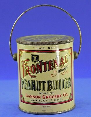 Antique Frontenac Brand Peanut Butter Tin Pail From Gannon Grocery Co
