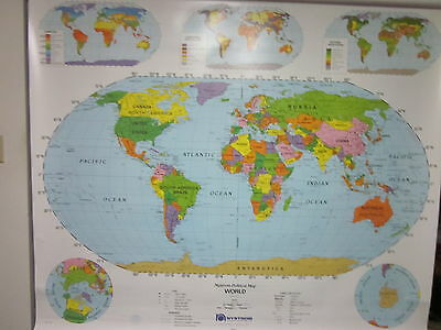 Nystrom World & United States Pull Down Classroom/School Wall Map 1NP991