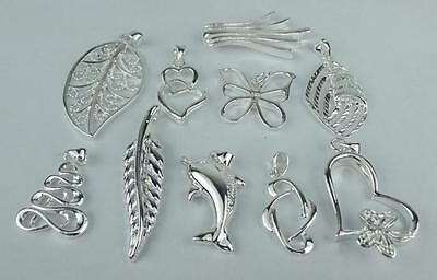 Wholesale lots 10pcs NF 925 Silver mixed Charms Necklace Pendant