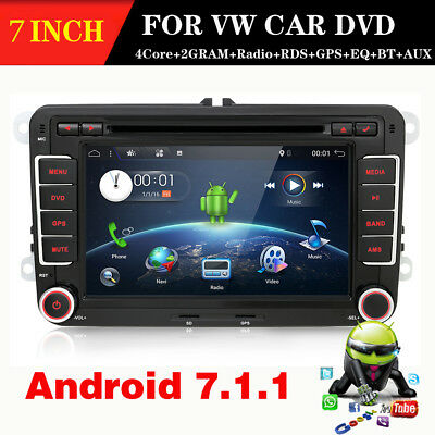Android 7.1.1+Double Din+4Core+2GRAM+32GROMMit GPS Player WIFI BT Radio Für VW+