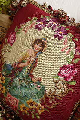 "16"" Gorgeous Dual Color Fringes Needlepoint Pillow Lady In Floral Garland #3"
