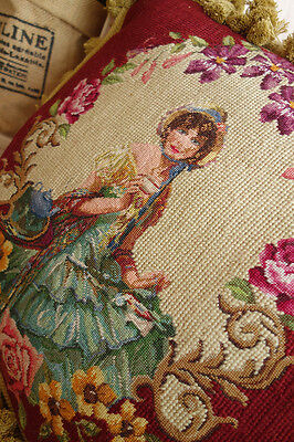 "16"" Gorgeous Dual Color Fringes Needlepoint Pillow Lady In Floral Garland #2"