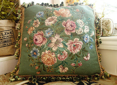 "17"" Vintage French Palace Green Needlepoint Pillow Blooming Pink Roses"