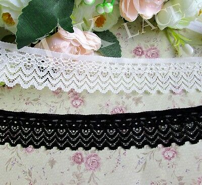 2 meters 3 cm width Milky White/ Black Stretch Lace Trim
