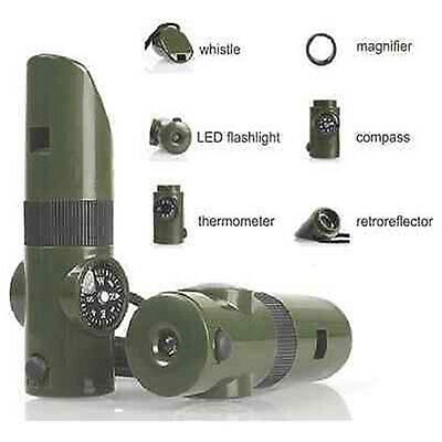 7 in 1 Military Emergency Survival Whistle Kit Compass LED Light Thermomet Tools