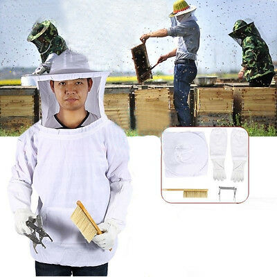 Professional Beekeeping Veil Suit Bee Keeping Hat Smock Protective Equipment US