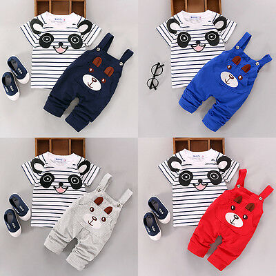 2PCS Newborn Kids Baby Boy Girls T-shirt Tops+Pants Overalls Outfits Clothes Set
