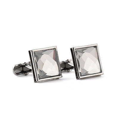 Vintage Square crystal silver mens cufflinks shirt cuff links wedding party gift