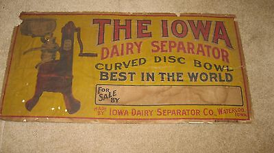 """Vintage  """"the Iowa Dairy Separator Co. Advertising Sign"""