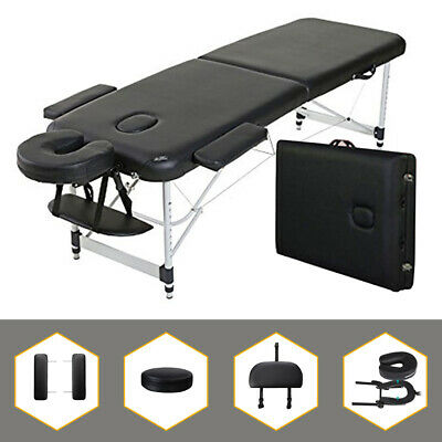 "Aluminum 84""L 2-Section Portable Massage Table Facial SPA Bed Tattoo Carry Case"