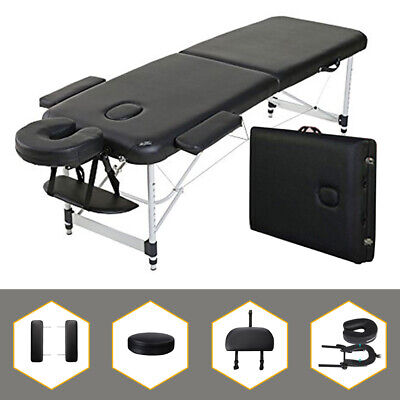 "Aluminum Light Weight 84"" 2-Section Portable Massage Table Facial SPA Bed Tattoo"