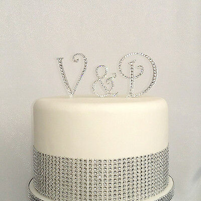 Personalised Crystal Monogram Wedding Cake Toppers Letters Set Of 3 Initials