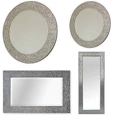 Silver Mosaic Wall Mirrors.Crackle Effect Bevelled Mirror. Round Or Square.