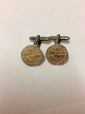 Elizabeth I Quarter Angel Coin WC51A Pair of Cufflinks Gold In English Pewter
