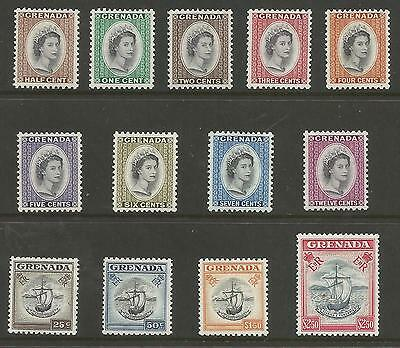 Grenada Sg193-204 The 1953-9 Qe2 Set Of 13 Very Lightly Mounted Mint Cat £60