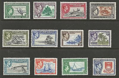 Gilbert & Ellis Islands The 1939-55 Gvi Set Of 15 Very Lightly Mounted Mint C£42