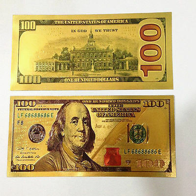 New Style USA Dollars $100 Gold Foil Paper Money Home Collection Banknote Bills
