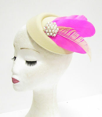 Hot Pink Cream Ivory Feather Pillbox Hat Fascinator Headpiece Vintage Races 2279