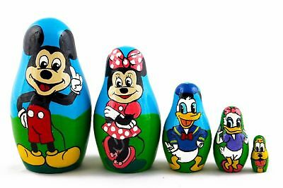 Matryoshka Russian Nesting Doll Wooden Babushka Mickey Mouse Donald Duck 5 Pc