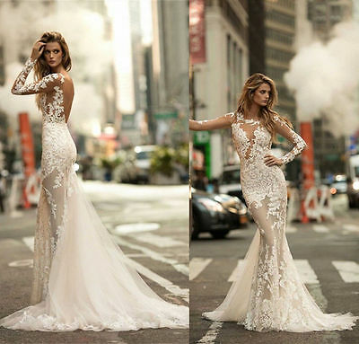 NEW LACE APPLIQUES Long Sleeve Mermaid Wedding Dresses Bridal Gown ...
