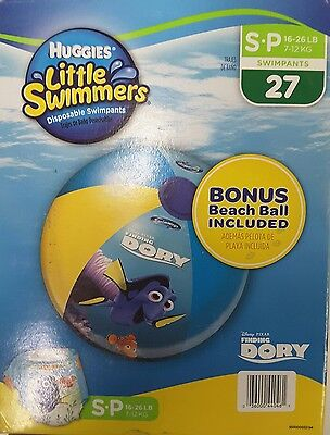Huggies Little Swimmers Sz 16-26 lbs Finding Dory BONUS BEACH BALL