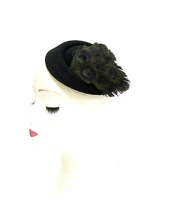 Black Feather Pillbox Hat Hair Fascinator Races Ascot 40s Headpiece Vintage 2289