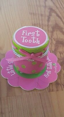 MUD PIE LITTLE SPROUT first TOOTH Ceramic HOLDER pink green Preppy girls GIFT