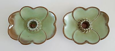 Frankoma Art Pottery Candlestick Holders Prairie Green 300 Set of Two