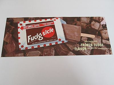 NOS 1960 Fudgsicle Frozen Fudge Bar - Vintage Ice Cream Paper Poster - Litho