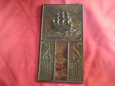 Collectable Antique Brass: Wall Plaque Three Mast Sailing Ship Four Panels