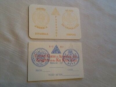 2 Old Unused Identification Cards Kkk Ku Klux Klan Passport One Country One Flag