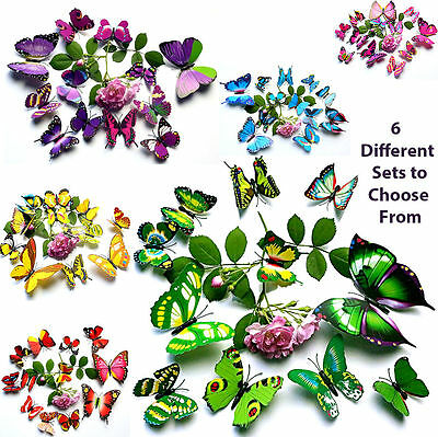 12 3D BUTTERFLY MAGNETS -Butterflies, Wall Decor Magnets -Use on Walls or Boards
