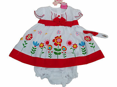 BNWT Baby girls red and white flower summer dress knickers hairband 3-6 months
