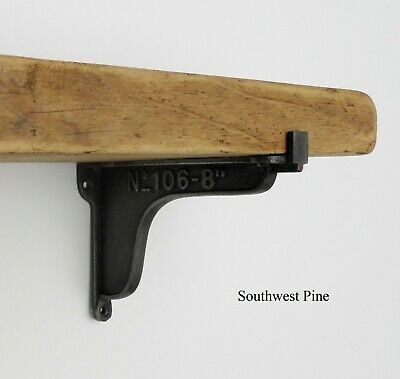 Reclaimed Old Pine Wooden Vintage Industrial Style Shelf  Cast Iron Brackets