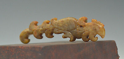 Rare Old Chinese Imperial Han Dynasty Jade Fan Handle   Nice Patina & Carving