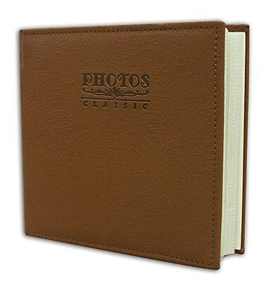 "Faux Leather  Cover Marron Brown Photo Album Holds 200 4""x6"" pictures 2 per pag"